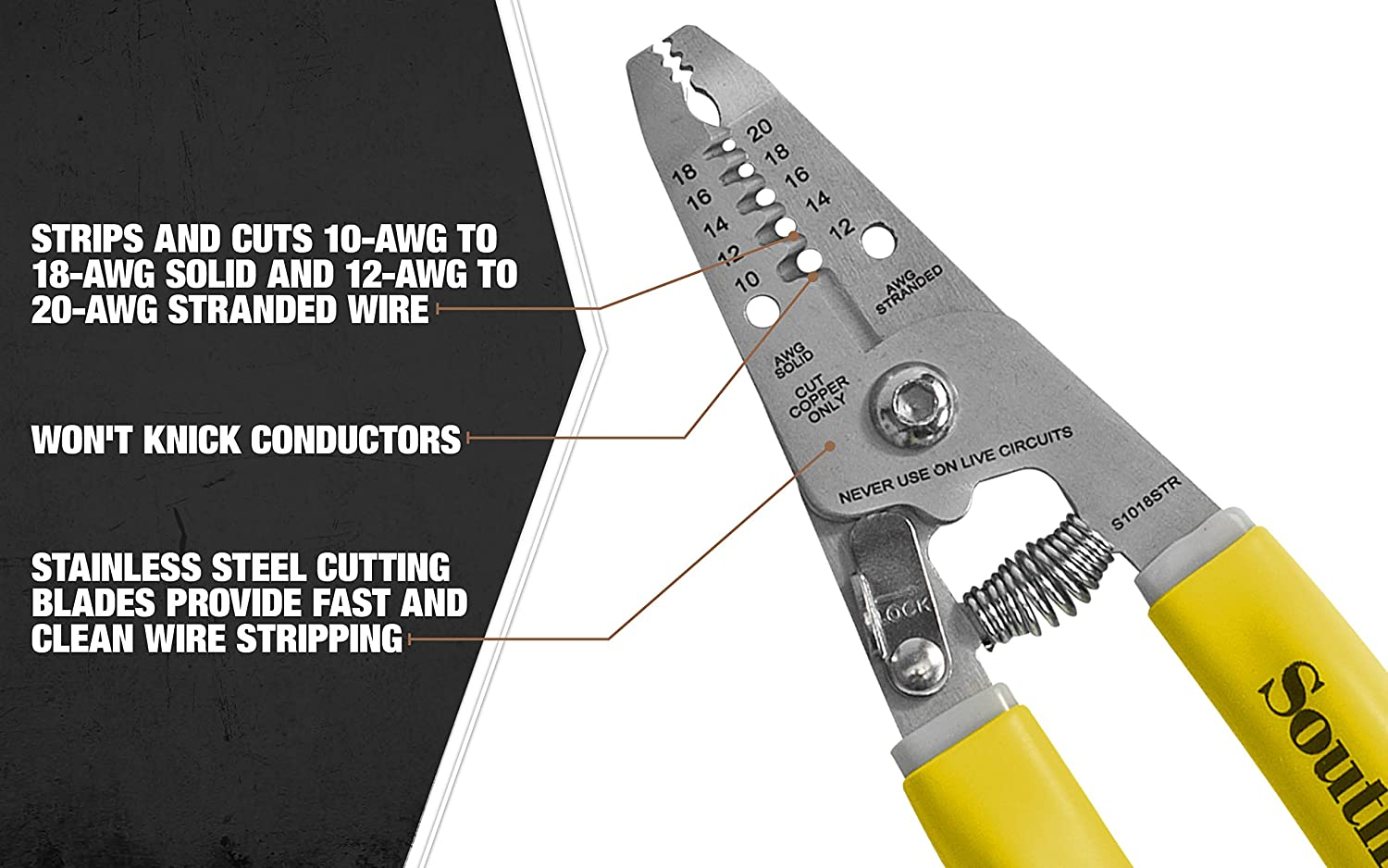 """Southwire Tools  Equipment S1018STR Compact Wire Stripping Tool 6/"""""""