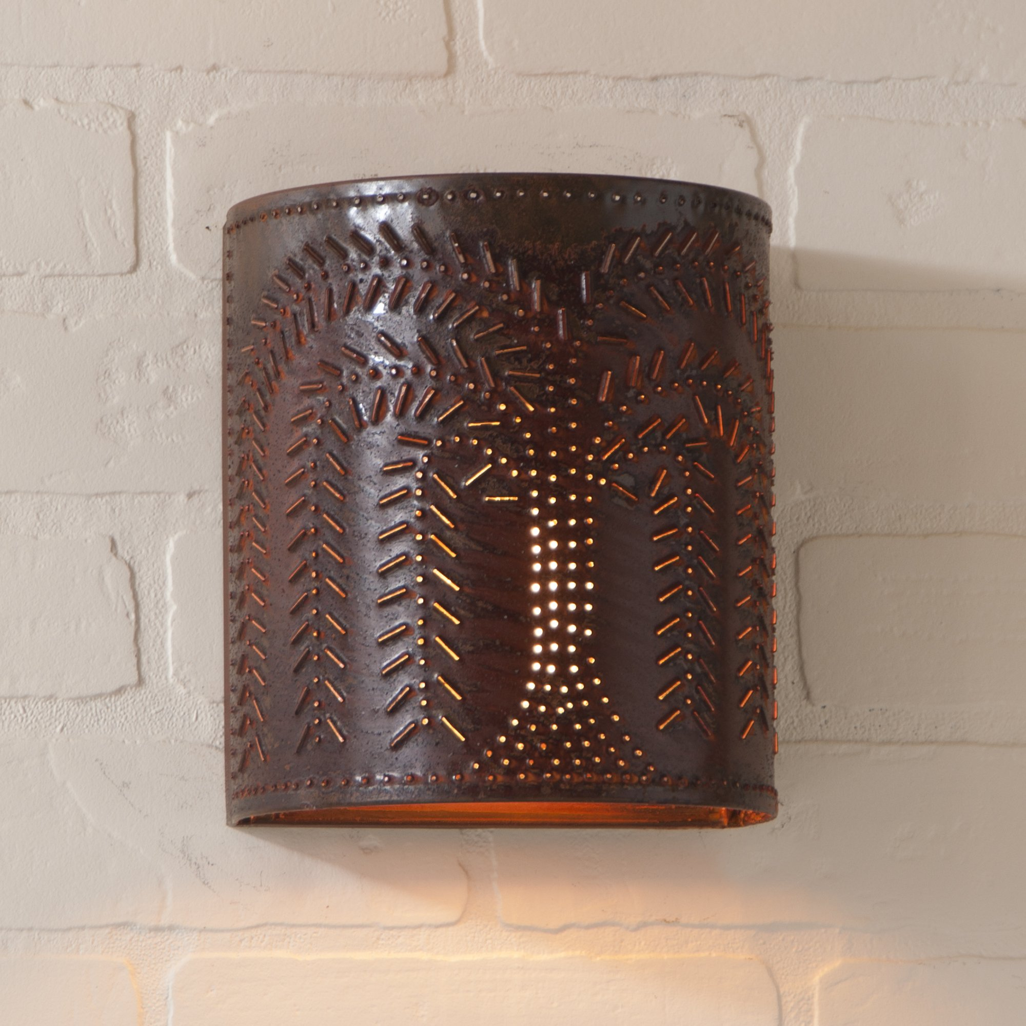 Willow Sconce Light in Rustic Tin, wired