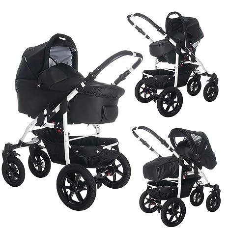 bebebi | Modelo Sidney | Neumáticos de Aire en negro | Carrito 3 en 1 negro