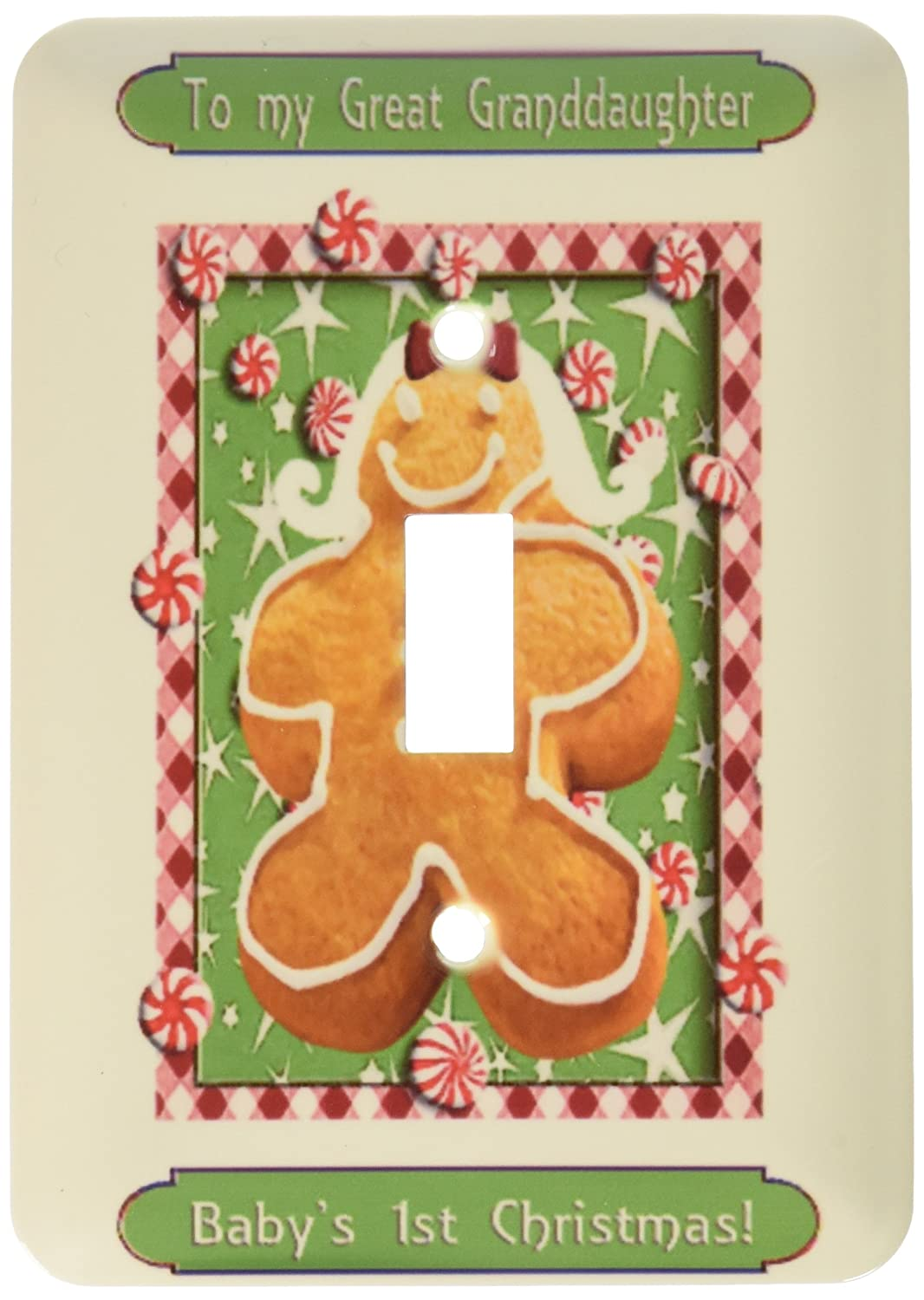 Babys First Christmas Great Granddaughter Single Toggle Switch 3dRose lsp/_37088/_1 Gingerbread Girl