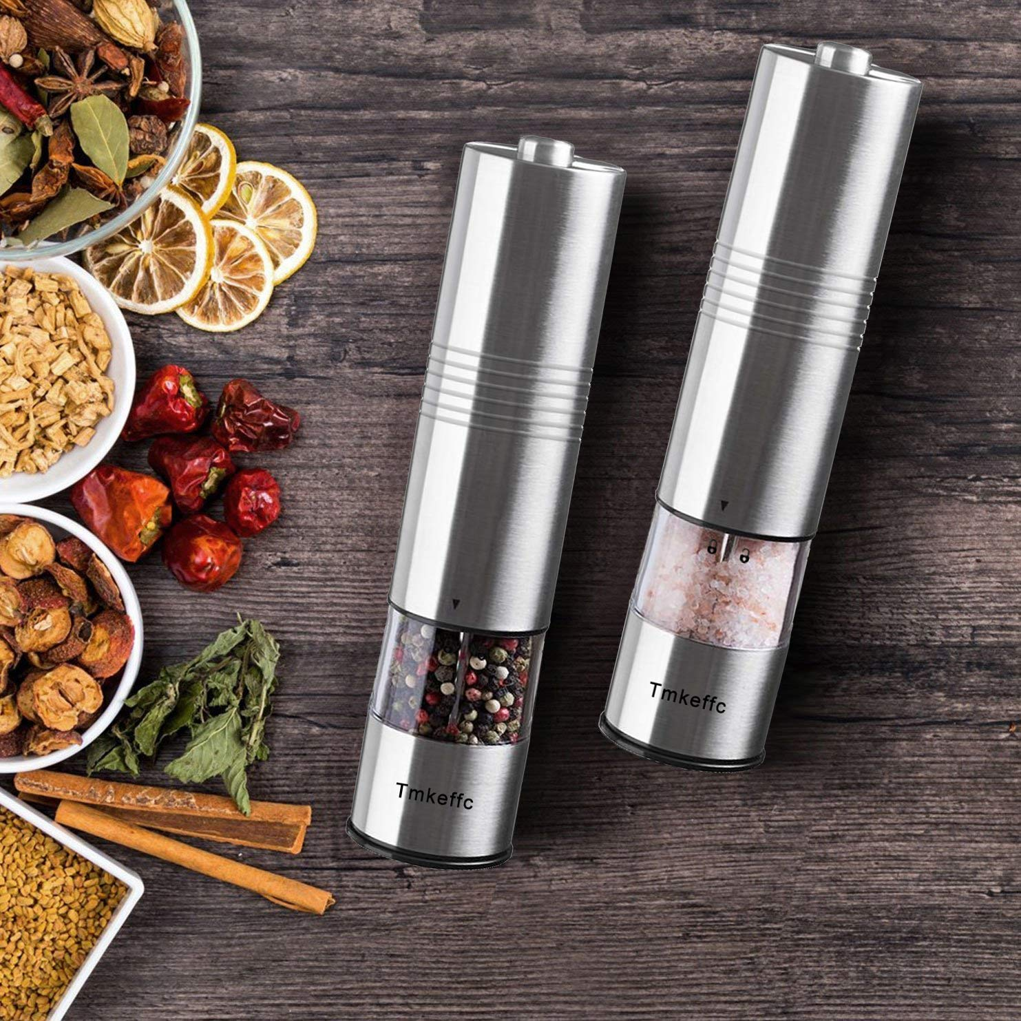 TMKEFFC Electric Salt and Pepper Grinder Set - Battery Operated Stainless Steel Mill with LED Light (Pack of 2 Mills) - Electronic Adjustable Shakers - Ceramic Grinders - Automatic One Handed Operation by TMKEFFC (Image #7)