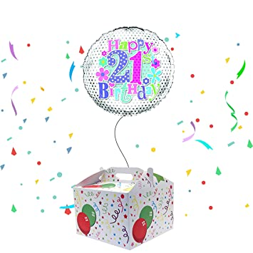 Happy 21st Birthday Balloon Delivered Inflated In A Box Amazoncouk Toys Games