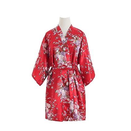 Xuanli Mujeres Túnicas Pavo Real y Flores Seda Corto Bata Vestido de Pijama (Rojo)