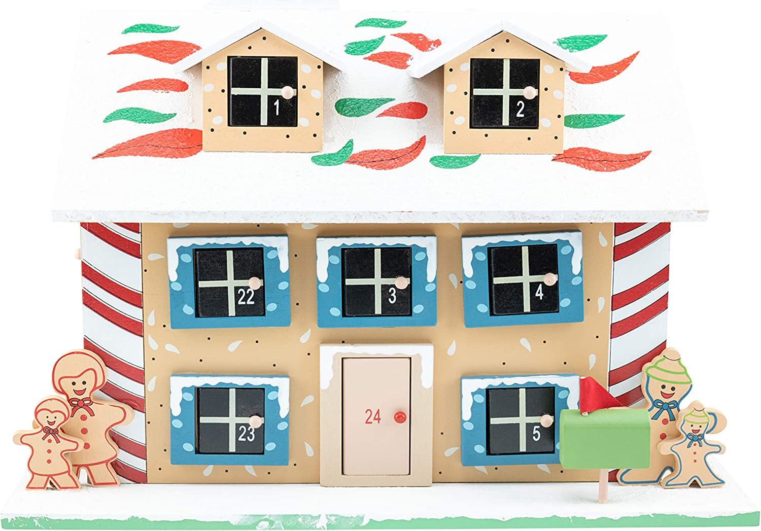 Clever Creations Wooden Christmas Advent Calendar, Countdown to Christmas, Festive Holiday Decoration, Gingerbread House