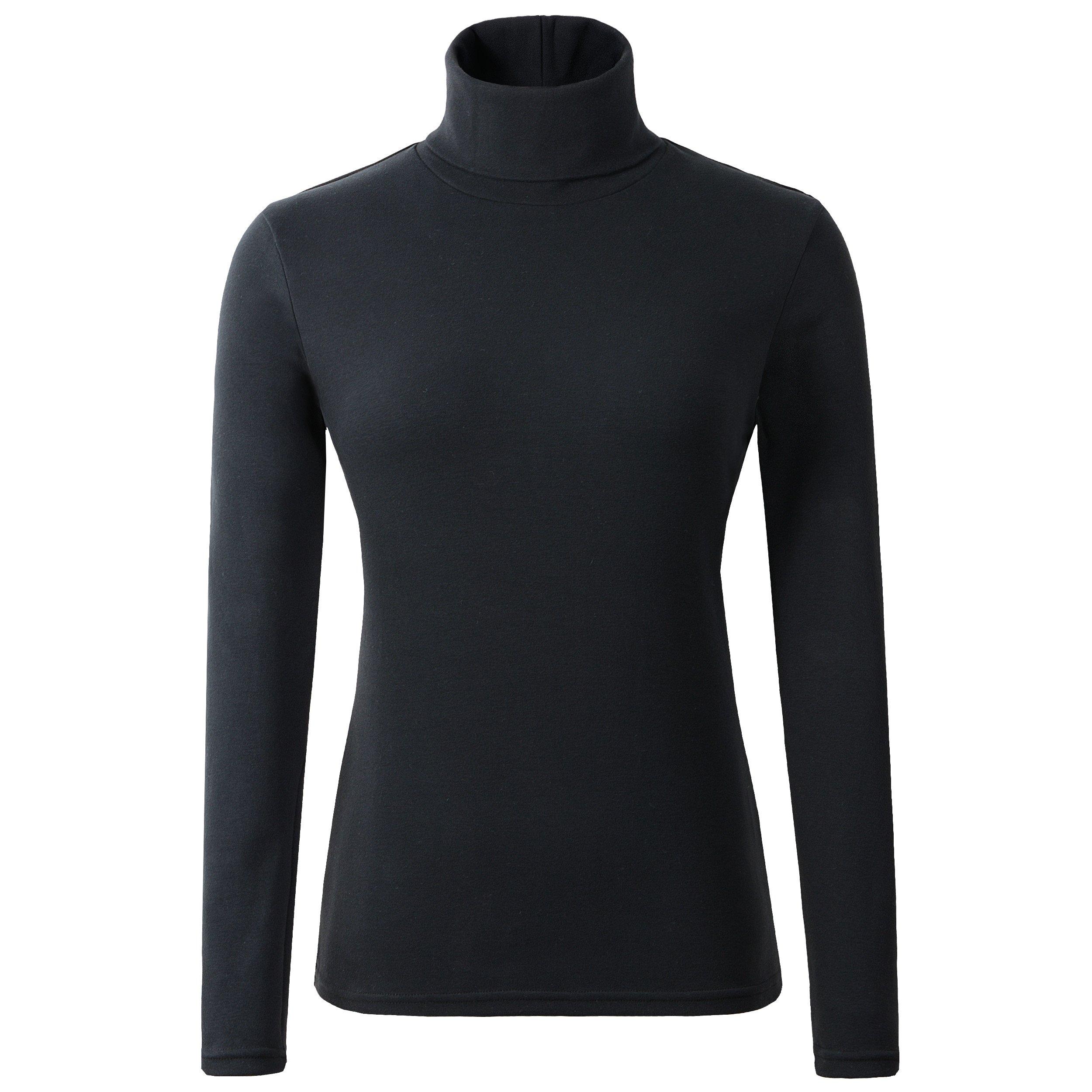 HieasyFit Women's Cotton Basic Thermal Turtleneck Pullover Top Black M by HieasyFit