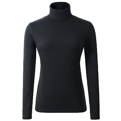 8ca9e6a8e7e53 HieasyFit Women's Soft Cotton Turtleneck Top Basic Pullover Sweater ...