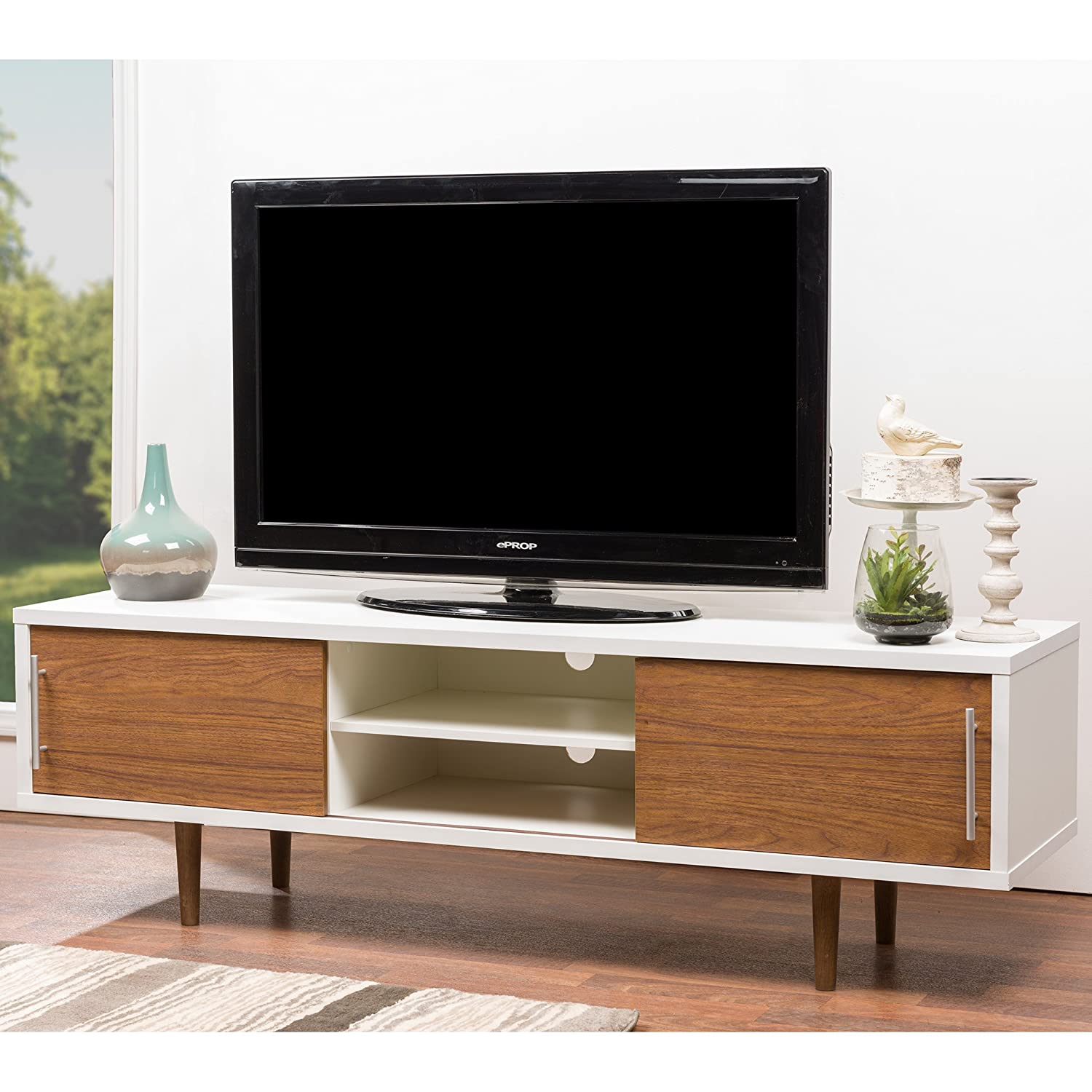 Amazoncom Baxton Studio Gemini Wood Contemporary Tv Stand White