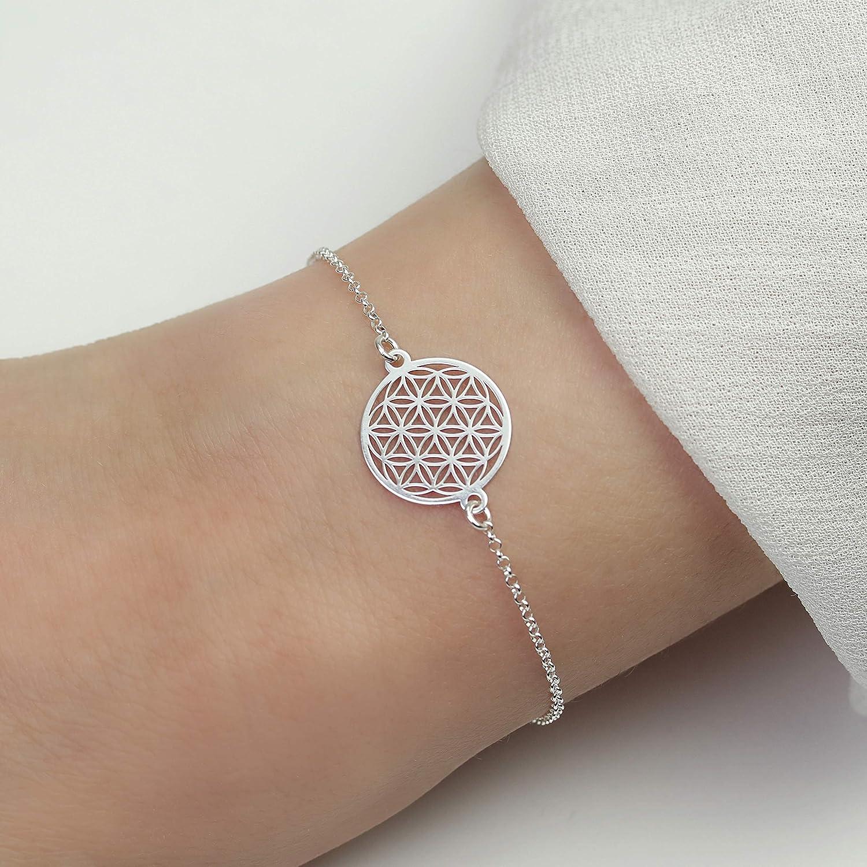 Damen Armkette Armband mit Anhänger Blume des Lebens Kettchen Edelstahl Silber