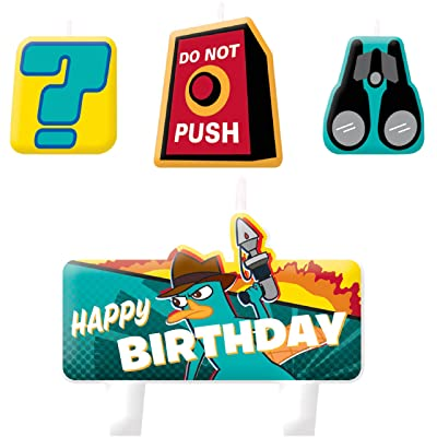Phineas and Ferb 'Agent P' Cake Candle Set (4ct): Toys & Games