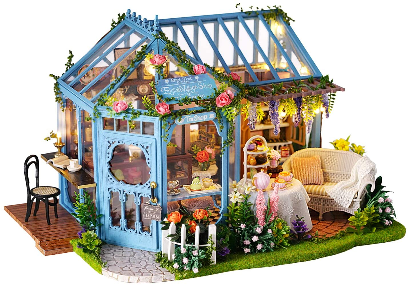 Flever Dollhouse Miniature DIY House Kit Creative Room with Furniture for Romantic Artwork Gift-Rose Garden Tea House