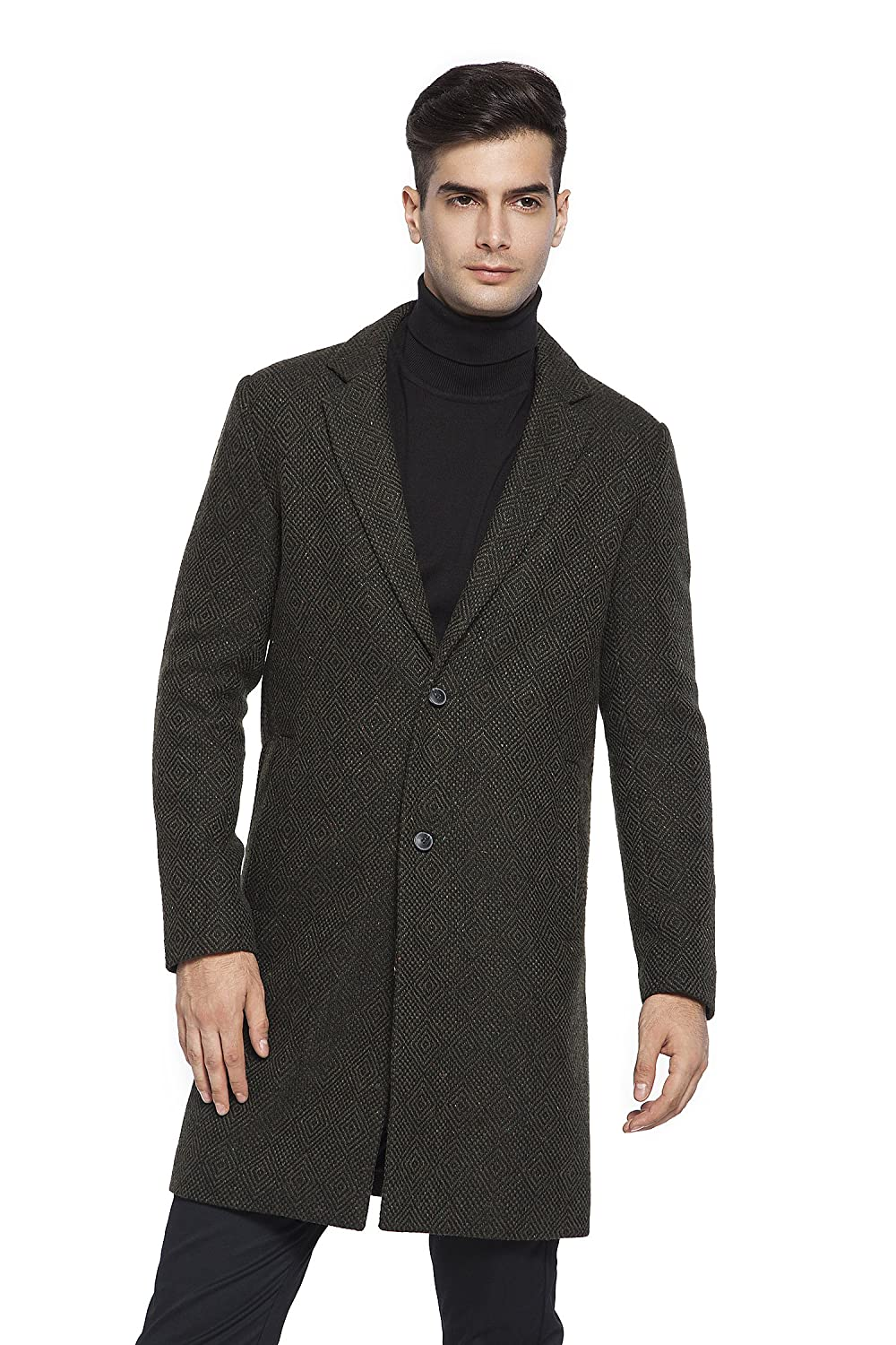 RLM Men's Single Breasted Woolen Trench Coat Overcoat Long Jacket RL MAKING