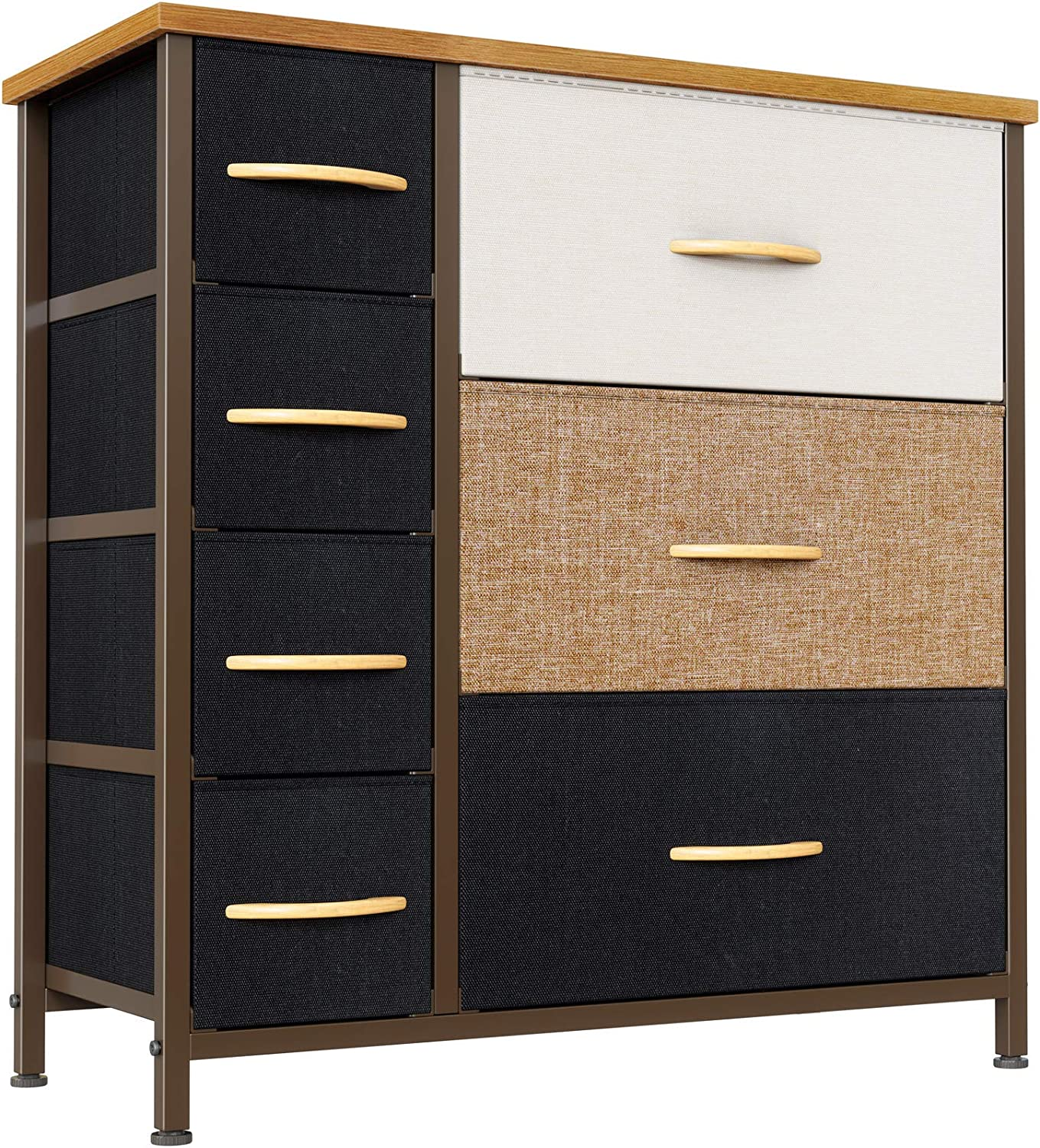 Cubiker Dresser Organizer with 7 Drawer, Furniture Storage Tower Unit for Bedroom Hallway Entryway Closets, Dresser Clothes Storage with Sturdy Steel Frame Wood Top, Chocolate