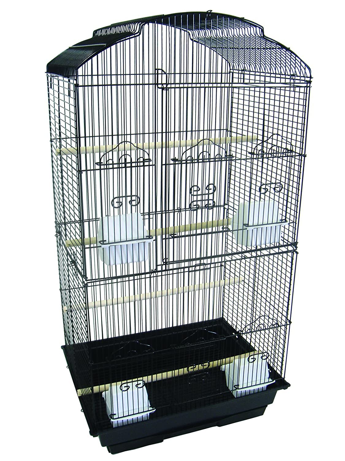 YML A6804 3/8-Inch Bar Spacing Tall Shall Top Small Bird Cage, 18-Inch by 14-Inch, Black