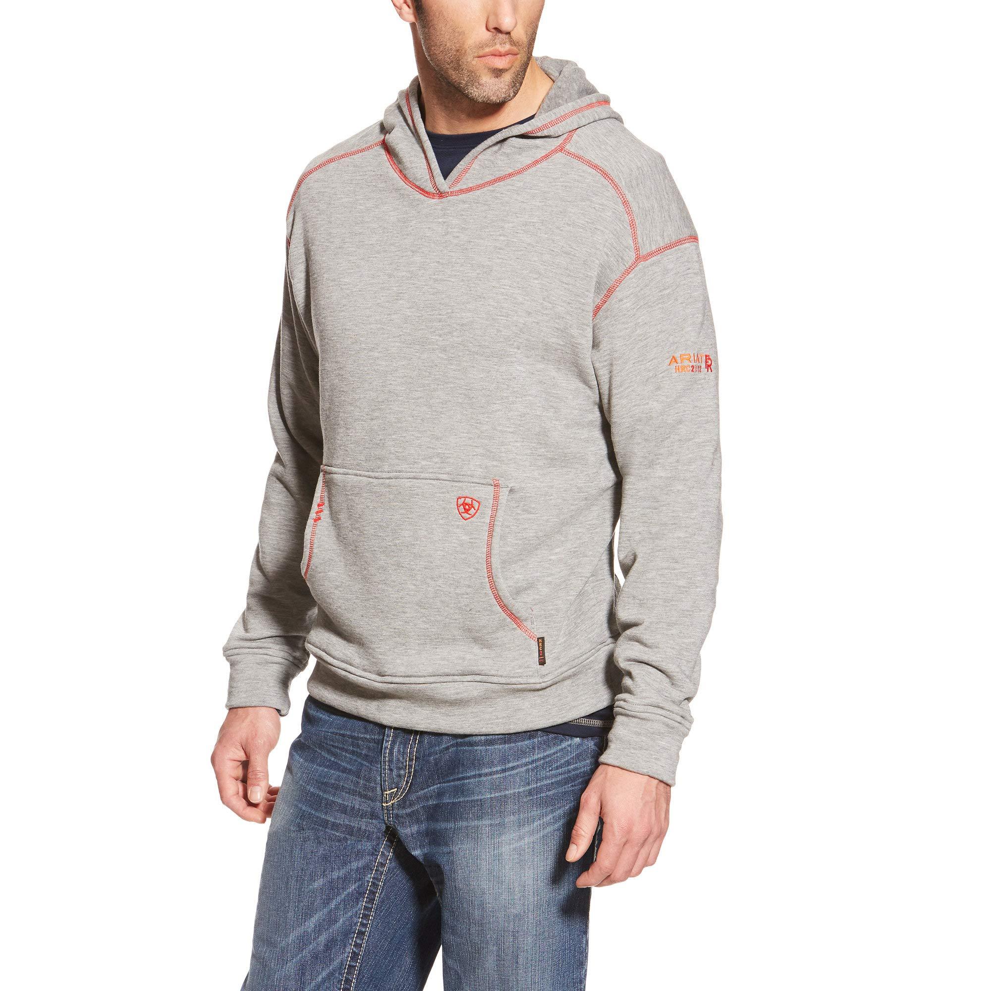 ARIAT Men's Flame Resistant Polartec Hoodie, Heather Gray, MD