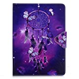 iPad Air Case , Billionn® Lovely Cartoon Patterns Premium PU Leather Flip Cover Shell Wallet Slim Stand Protective Cover for Apple iPad Air , Purple Dreamcatcher
