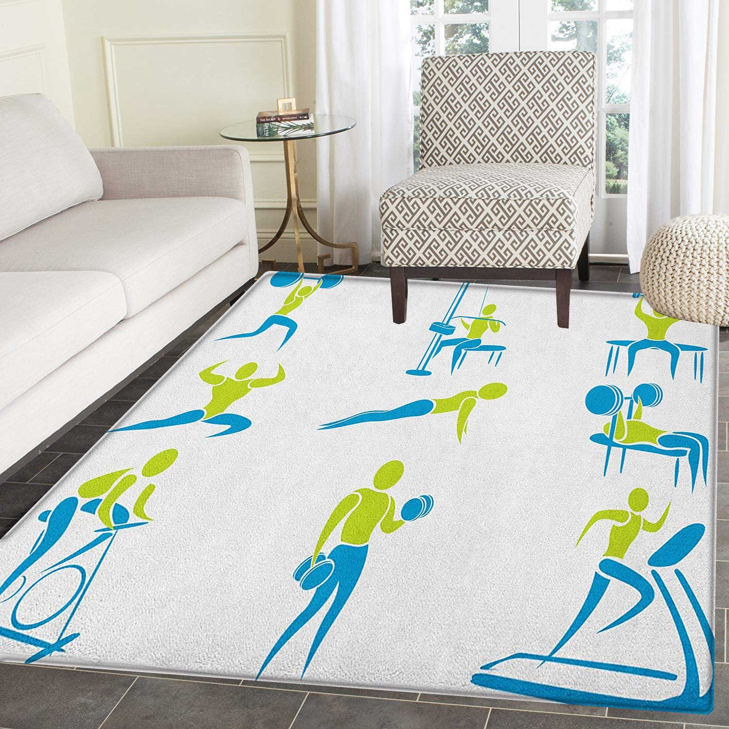Amazon.com: fitness rug kid carpet set of icons showing different