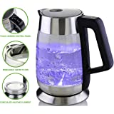 Ovente Glass Electric Kettle 1.8L, Fast Boiling with Temperature Control, BPA-Free and Auto Shut-Off (KG660S), 1.8Liter, Stainless Steel