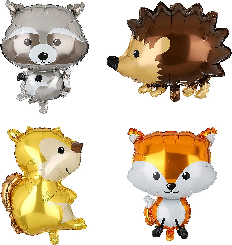 4 Pcs Giant Animal Mylar Balloons (Squirrel, Fox, Hedgehog,Raccoon) for Jungle Safari Animals Theme Birthday Party Decorations Kids Gift