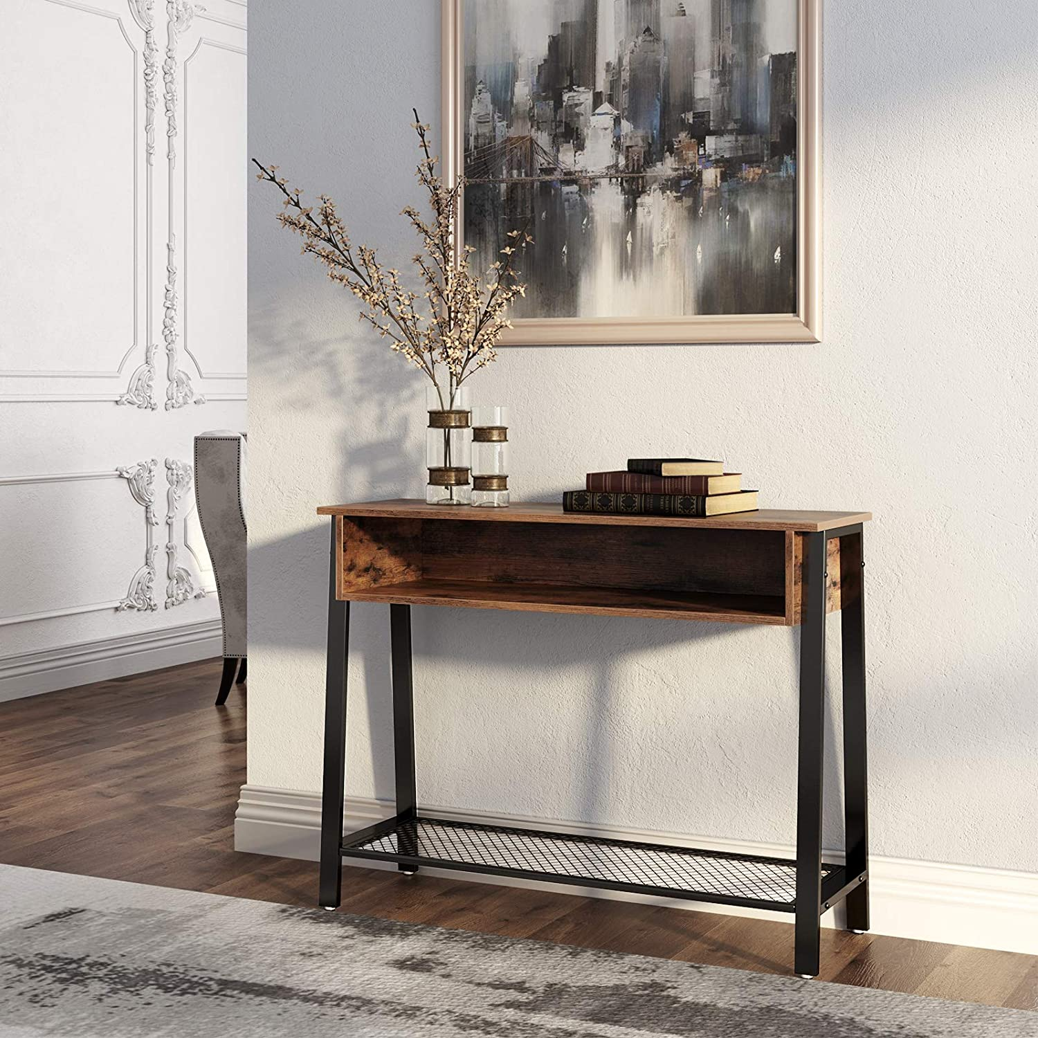 VASAGLE Industrial Sofa Table, Console Table with Mesh Shelf and Storage Rack, Entryway Table for Living Room and Office, Stable Metal Frame