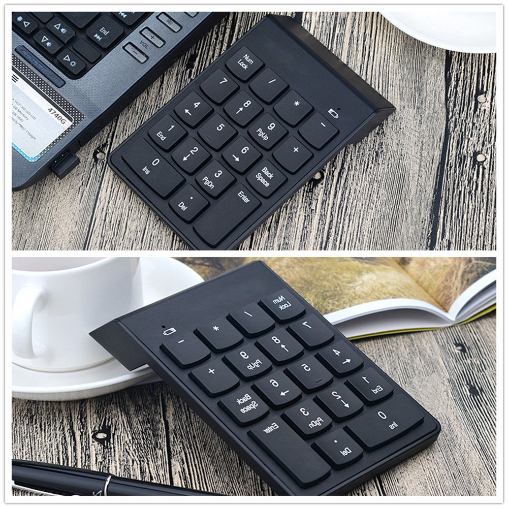 Leereal 18 Keys 2.4G Wireless USB Numeric Keypad Number Keypad Portable Numpad for Mac Laptop Notebook Desktop PC Computer with Chocolate Keyboard and Mini USB Receiver by Leereal (Image #7)