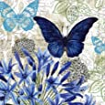 Cypress Home Blue Floral Study Embossed Paper Cocktail Napkin, 20 count