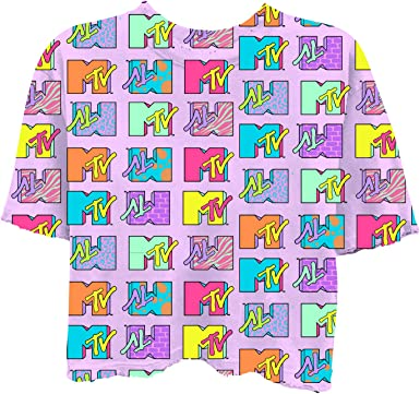 MTV - Camiseta de manga corta para mujer, diseño con texto en inglés