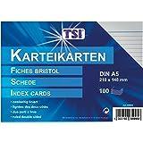 TSI - Tarjetas de cartulina (DIN A5, 100 unidades, a rayas), color blanco