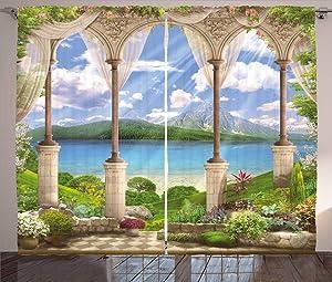 Ambesonne Italian Curtains, Old Stone Arch View The Sea Balcony Fresco Garden Plants Art, Living Room Bedroom Window Drapes 2 Panel Set, 108