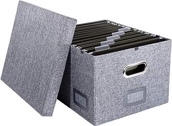 Caja de carpetas colgantes de tela decorativa – Organizador de almacenamiento con sistema de riel inteligente compatible con letras y legales: Amazon.es: Bricolaje y herramientas
