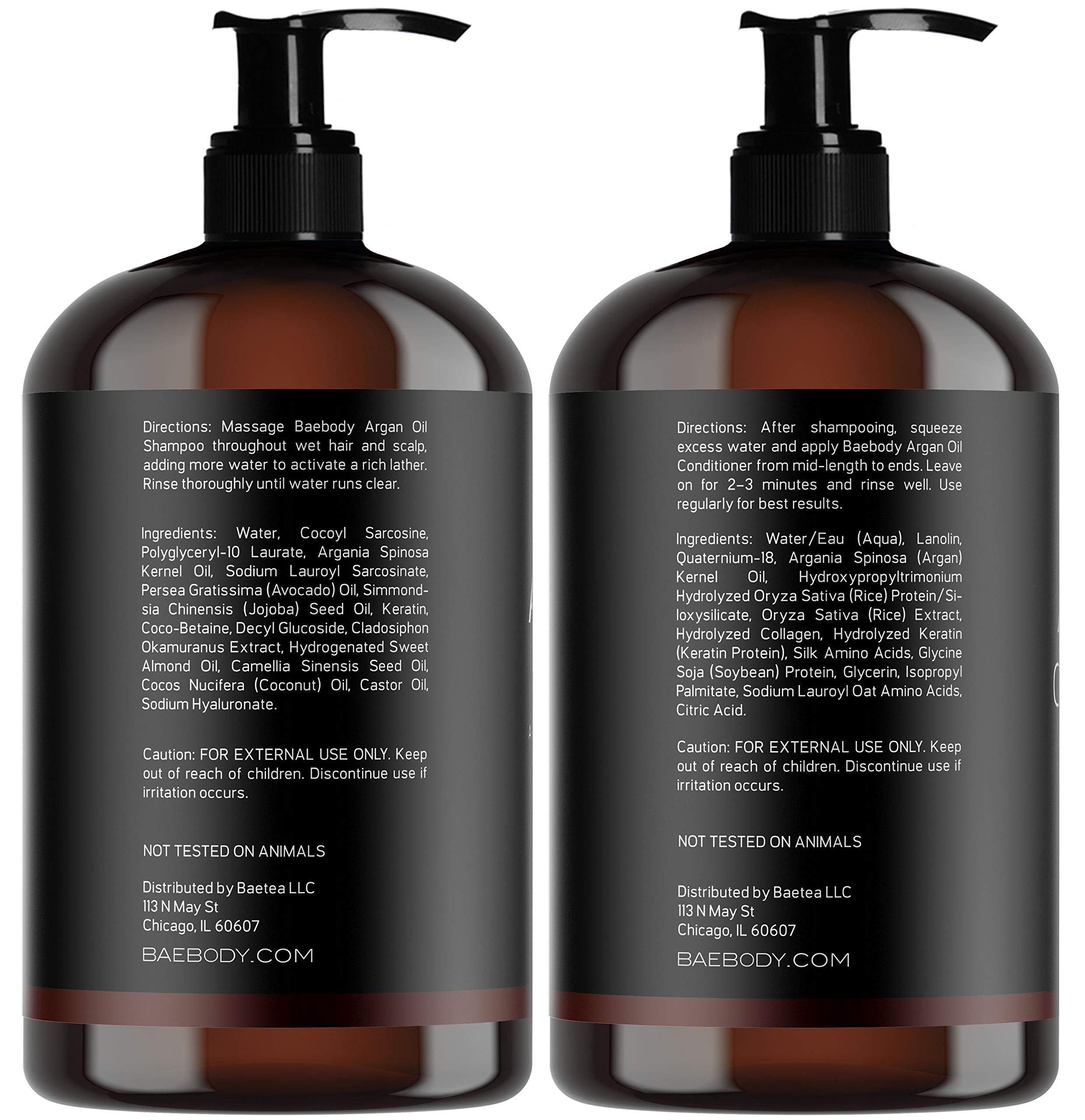 Baebody Moroccan Argan Oil Shampoo & Conditioner Set, 16 Ounces by Baebody