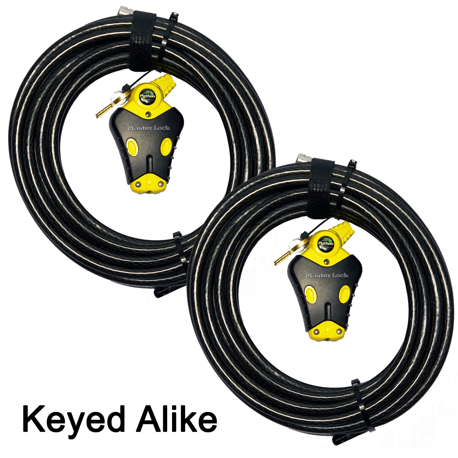 Master Lock - Two 30 ft Python Adjustable Cable Locks Keyed Alike, #8413KACBL-30-30