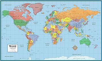 Amazon Com Mapa Mundial Clasico Para Pared De 24x36 Pulgadas Poster Mural Laminado Office Products Área de superfície e população. mapa mundial clasico para pared de 24x36 pulgadas poster mural laminado
