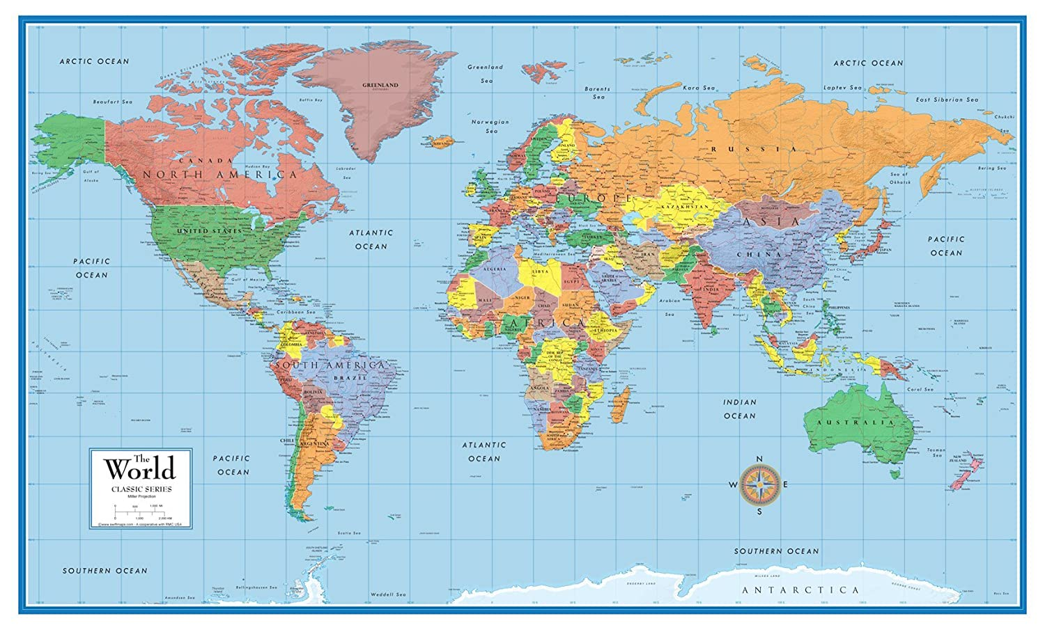 24x36 World Clic Elite Wall Map Mural Poster Laminated on scale on a map, country on a map, elevation guide on a map, title on a map, place on a map, declination diagram on a map,