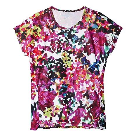 adidas YG T Q2 tee - Camiseta para niña, Color Gris/Negro/Blanco