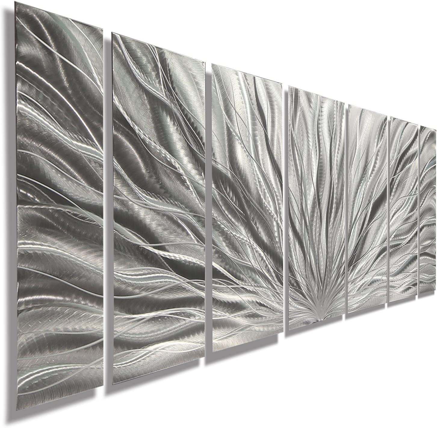 Amazon Com Statements2000 Abstract Large 3d Metal Art Panels Wall Hanging Indoor Outdoor Sculpture By Jon Allen Silver 68 X 24 Silver Plumage Home Kitchen