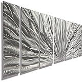 Silver Metal Wall Art - Beautiful Silver Etched Metallic Wall Art - Wall Sculpture, Wall Decor, Home Accent, Panel Art - Abstract, Modern Contemporary Design - Silver Plumage By Jon Allen