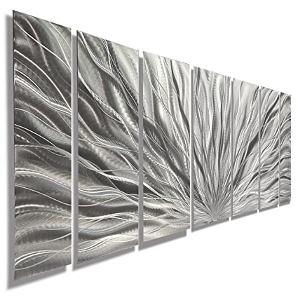 8311b8a733c Silver Metal Wall Art - Beautiful Silver Etched Metallic Wall Art - Wall  Sculpture