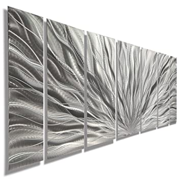 Silver Metal Wall Art   Beautiful Silver Etched Metallic Wall Art   Wall  Sculpture, Wall