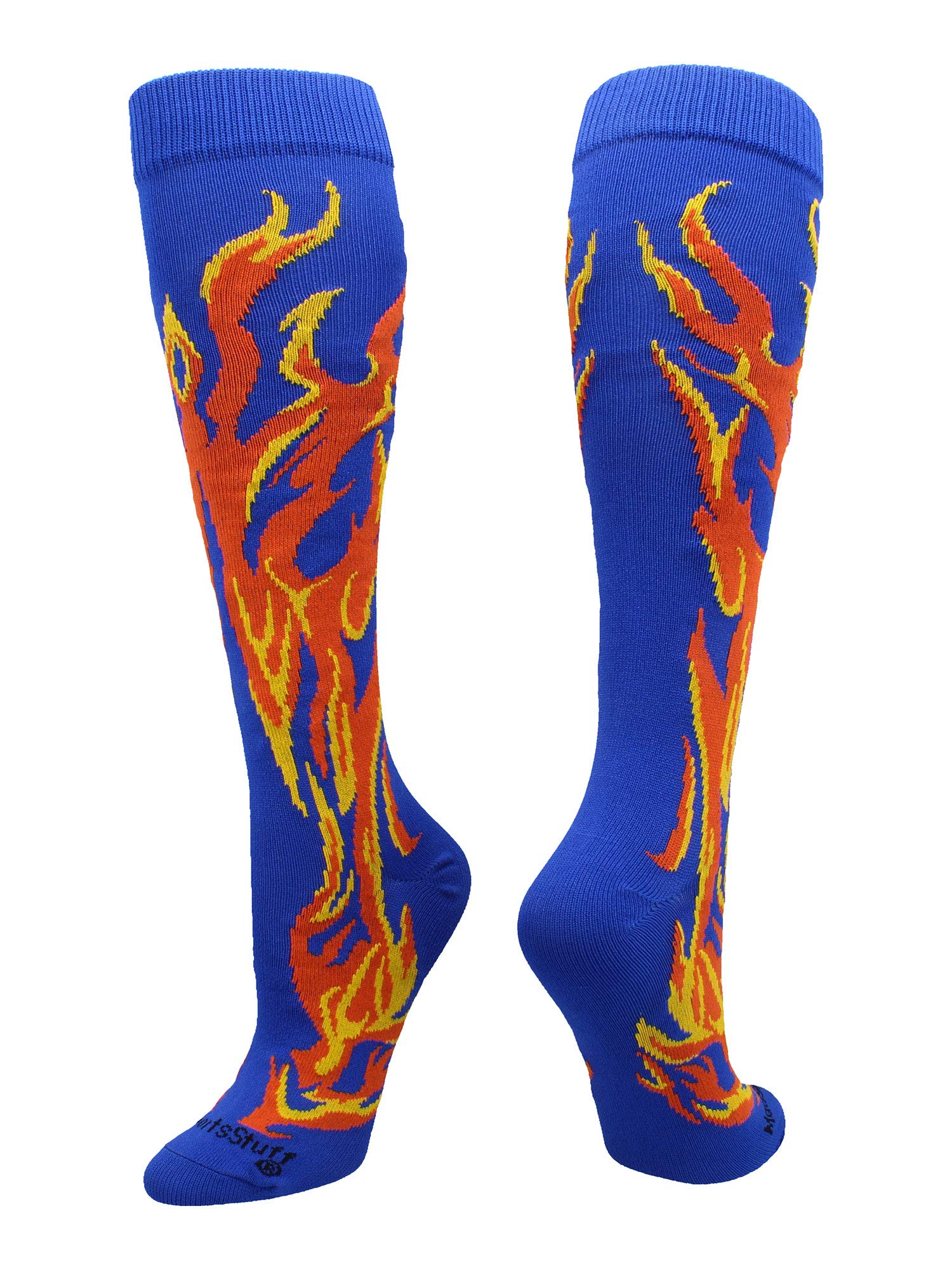MadSportsStuff Flame Socks Athletic Over the Calf Socks (Royal/Orange/Gold, Small)