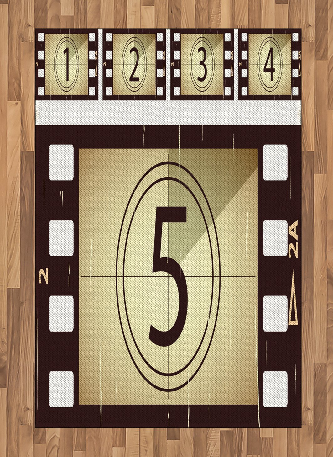 Ambesonne Movie Theater Area Rug, Scratched Film Strips Vintage Movie Frame Pattern Grunge Illustration, Flat Woven Accent Rug for Living Room Bedroom Dining Room, 4 X 5.7 FT, Beige Brown White