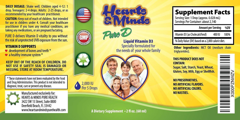 Vitamina D3 líquido Suplemento Natural insípido 2000 UI por 5 gotas Flexible dosis – mejor valor botella de 2 oz (ml), Biodisponibilidad Vit D para toda la ...