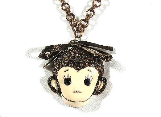 Magic Metal Crystal Encrusted Monkey Necklace NJ10 Jungle Chimpanzee Bronze Tone Pendant
