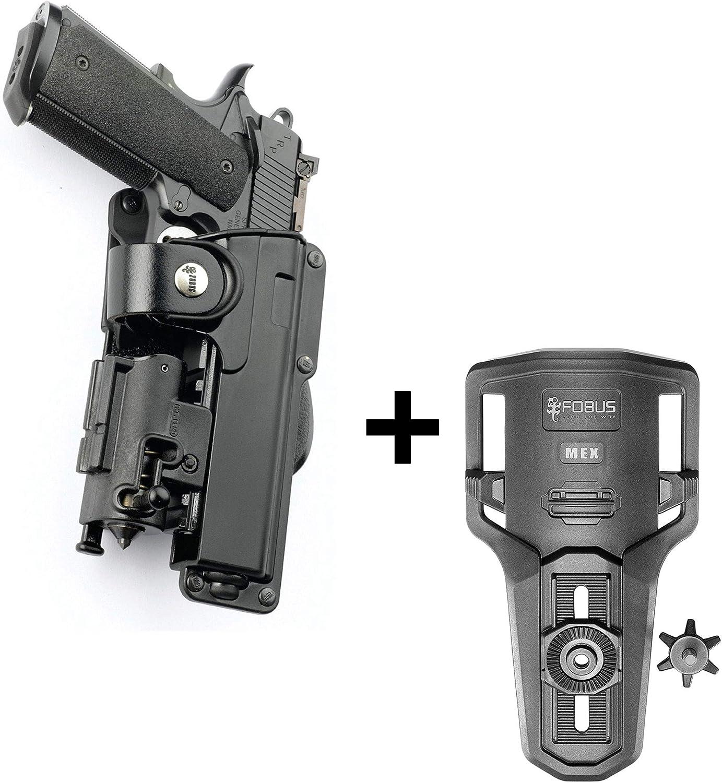 Fobus Rotating Roto Tactical Retention Holster con correa de seguridad + Lowride Belt Holder para Colt 1911, estilo Pistols, 5 / Kimber/Browning Pistols con accesorios tácticos