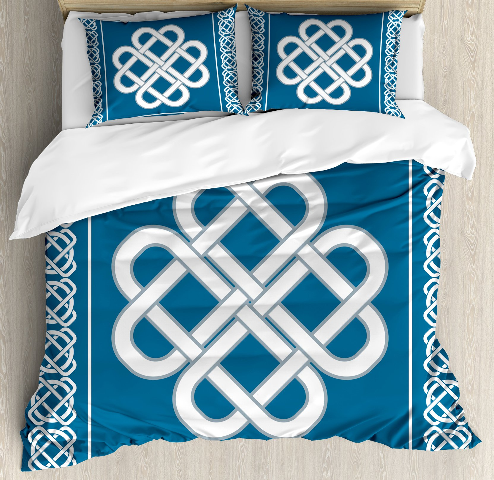 Irish Duvet Cover Set King Size by Ambesonne, Celtic Love Knot Symbol of Good Fortune Framework Border Historical Amulet Design, Decorative 3 Piece Bedding Set with 2 Pillow Shams, Blue and White