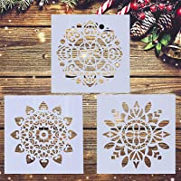 LOCOLO 3 Pieces Mandala Floor Stencil (12x12 inch) Reusable Painting Stencil, Laser Cut Painting Template for DIY Decor…