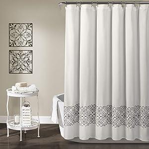 Lush Decor, Gray Scroll Medallion Shower Curtain, 72