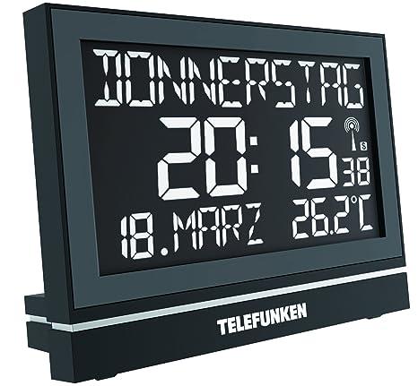 Telefunken FUX de 700 de HRB (B) inalámbrico de ancianos XXL LCD despertador/Reloj de pared digital ...