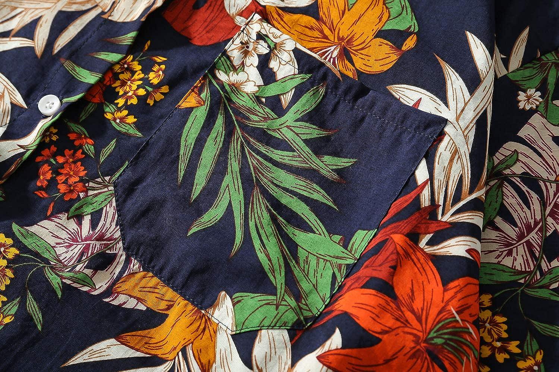 SANHION Mens Funky Hawaiian Shirt Short-Sleeve Front-Pocket Big Flower Multiple Colors