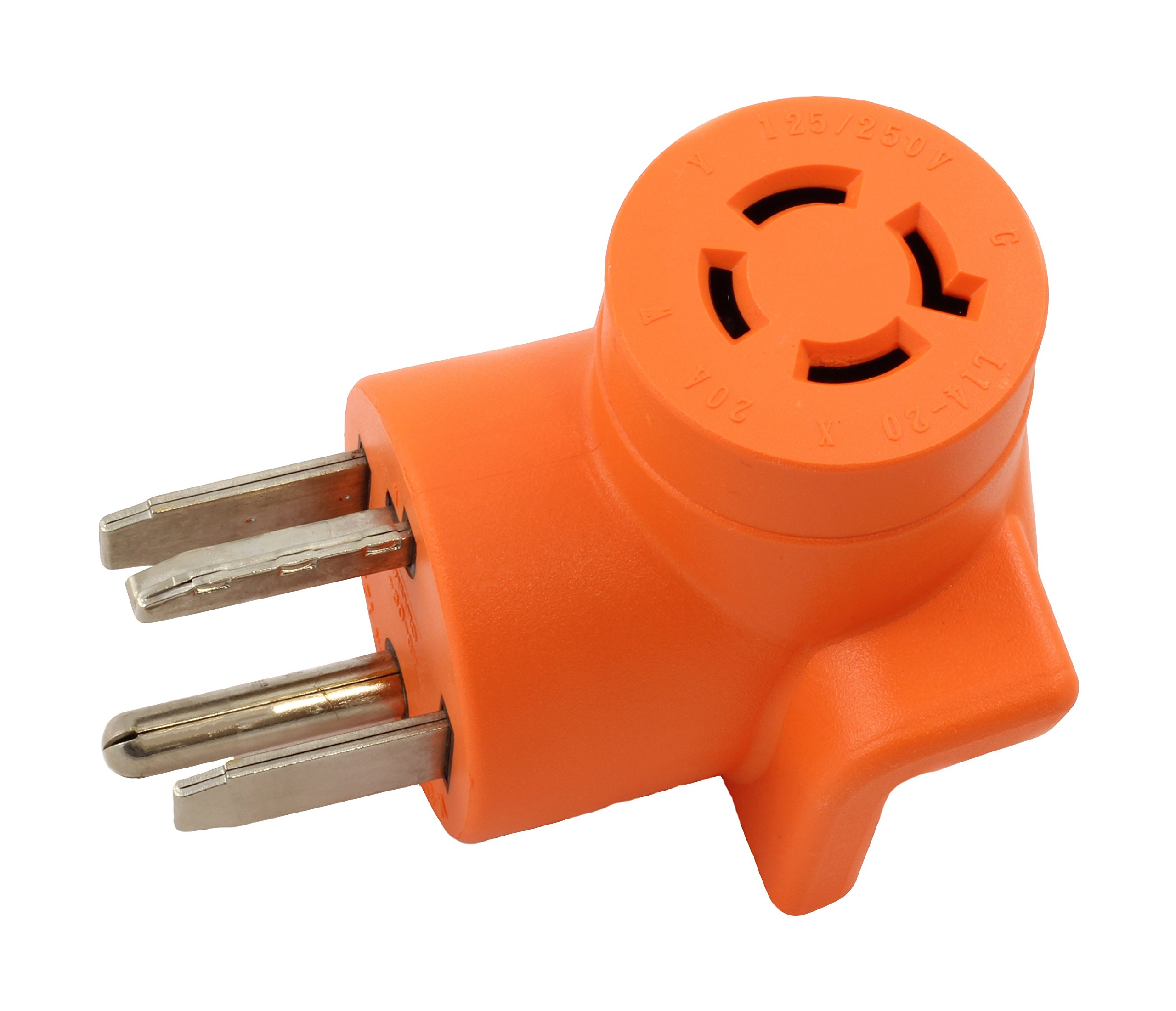 AC WORKS [AD1430L1420] Dryer Outlet Adapter 4-Prong Dryer 14-30P Plug to 4-Prong 20Amp Locking L14-20R Adapter