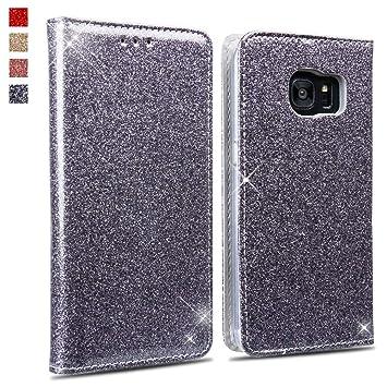 Okzone Galaxy S7 Edge Hülle Luxus Glitzer Bling Pu Leder Brieftasche Stil Magnetisch Folio Flip Etui Brieftasche Hülle Schutzhülle Tasche Case Für